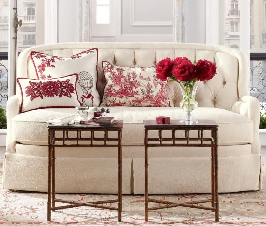 such a fresh look for spring a white sofa red and white pierre frey - White Sofa Table