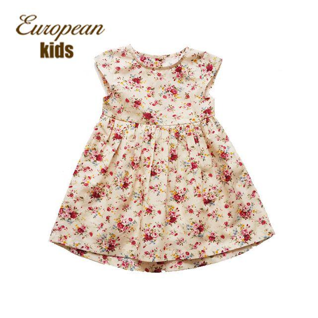 Дети летнее платье в стиле девушки свободного покроя платья линия младенца хлопка платья цветочный принт дети одеваются дизайнер детской одежды