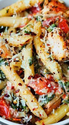 Chicken and Bacon Pasta with Spinach and Tomatoes in Garlic Cream Sauce JuliasAlbum.com #Italian #pasta #dinner