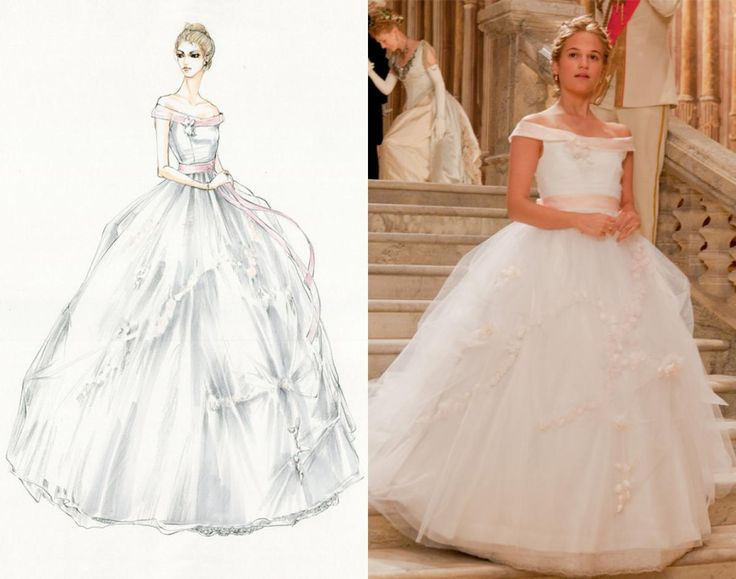 """""""Kitty's white dress really evolved from the idea of her being a debutante and being a child,"""" Durran says of the virginal character (Alicia Vikander) in love with a man after Anna's heart. To make Kitty appear even more innocent, the bell-shaped frock was hemmed several inches shorter and was detailed with light pink rosettes."""