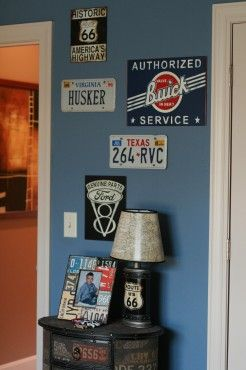 Route 66 {Boy's Room} | The Good Stuff Guide.  Love the lamp and dresser for my little car guy :-)