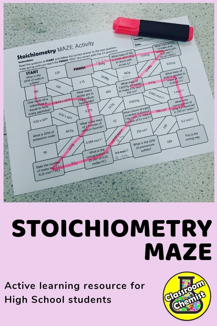 Moles Activity Maze High School Science Activities