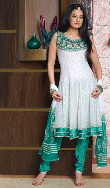 Off White Satin Designer party Wear Salwar Kameez with Dupatta