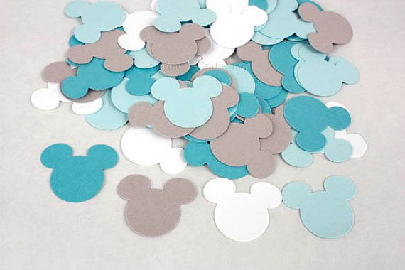100 Blue, Grey and White Mickey Mouse Confetti, Baby Mickey First Birthday Party, Mickey Mouse Baby Shower, Blue Mickey Confetti Cutouts