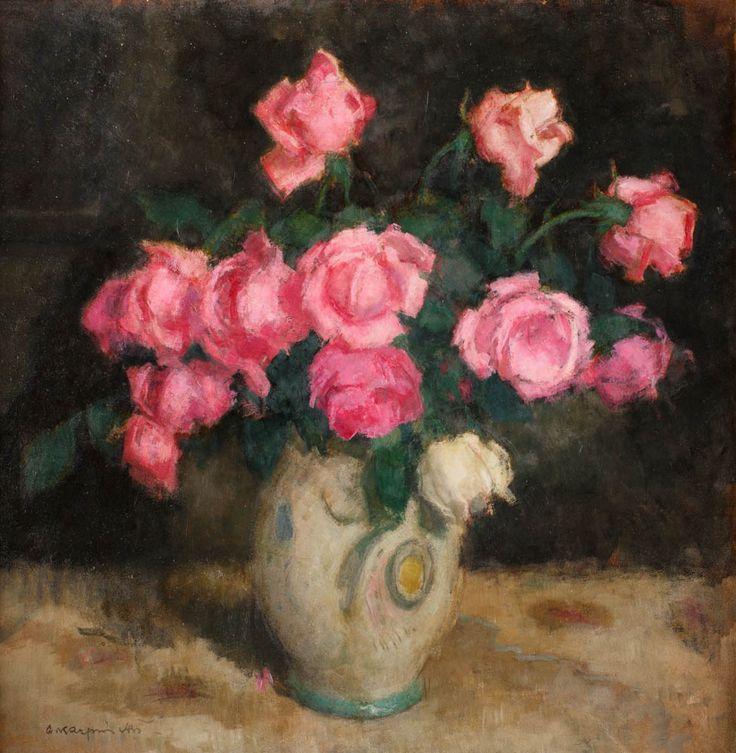 ALFONS KARPIŃSKI (1875 - 1961)  RÓŻE   olej, tektura / 65 x 59 cm