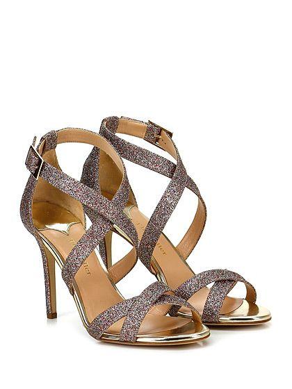THE SELLER - Sandalo alto - Donna - Sandalo alto in glitter multicolor con cinturini ad incrocio frontale e suola in cuoio. Tacco 100. - MULTICOLOR - € 175.00