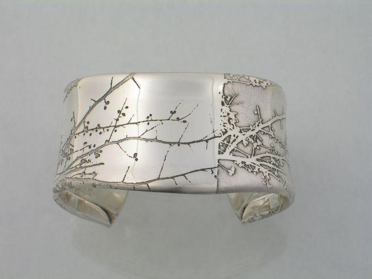 """etched sterling silver """"Branch"""" bracelet by Sandra Noble Goss"""