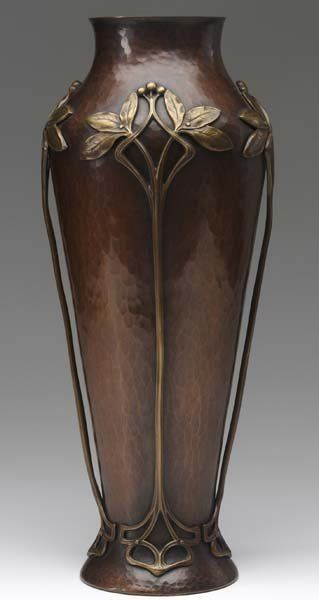 Lot:373: W.M.F. Art Nouveau hammered copper tall vase, Lot Number:373, Starting Bid:$500, Auctioneer:Craftsman Auctions, Auction:373: W.M.F. Art Nouveau hammered copper tall vase, Date:06:00 AM PT - Mar 8th, 2008