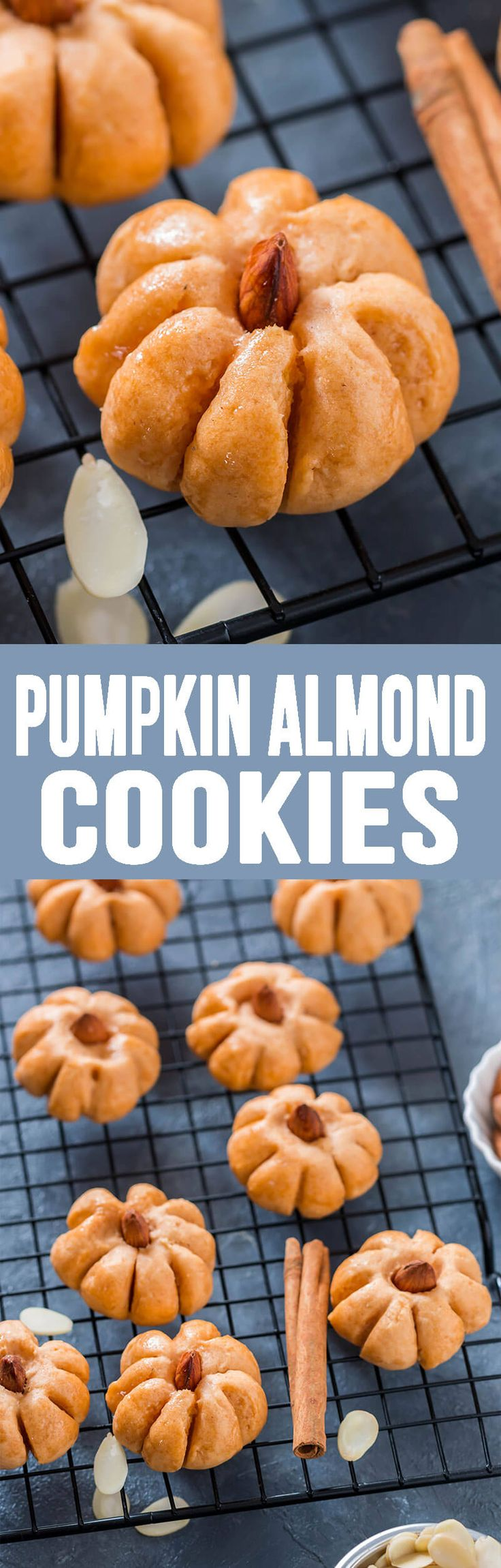 Pumpkin Almond Cookies not only are they adorable, but delicious too!