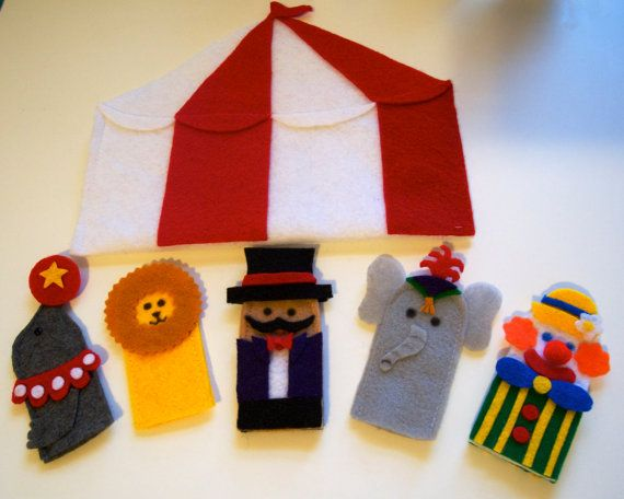 Circus finger puppet set - ringmaster, clown, elephant, lion, seal, and circus tent