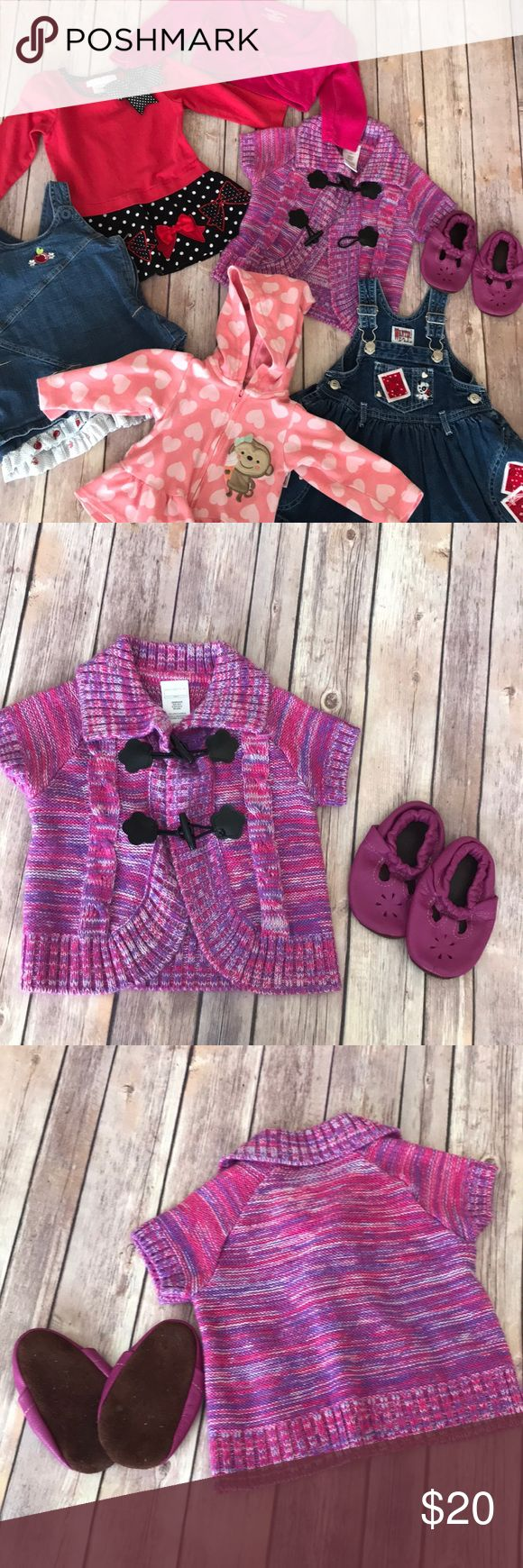 Baby Girl Dress Sweater Winter/Spring Bundle •Wonder Kids: Pink & Purple Knit Cardigan Sweater w/ toggle closure EUC 12M •Purple Moccasins: unmarked size VGUC •Wanted Kids: Denim Dress w/ red bandana detail & black & white puppy on chest pocket. Small. May fit more like a 12-18M dress EUC •Wonder Kids: Denim Dress w/ apple ruffle detail & apple embroidery the chest EUC 12M •Just One You: Zip hoodie VGUC 12M •Bonnie Baby: Black & Red Tunic/Dress. polka-dot, bow,& ribbon detailing. EUC. 12M…