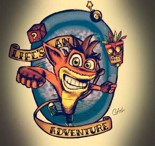 Life 39 s an adventure crash bandicoot pinterest for Crash bandicoot tattoo