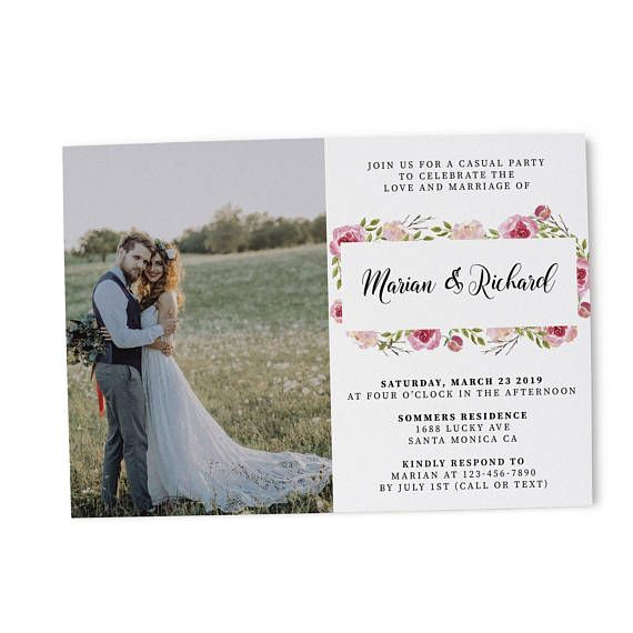 Classy Floral With Photo Elopement Reception Party Invitation Card Casual Wedding Reception Wedding Party Cards Wedding Reception Cards