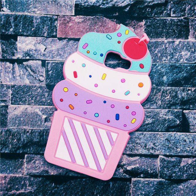 Nouveau Mignon 3D Délicieuse Crème Glacée de Bande Dessinée Capa Souple En Silicone Téléphone cas de Couverture Pour Samsung Galaxy A3 A5 A7 2016 A310 A510 A710