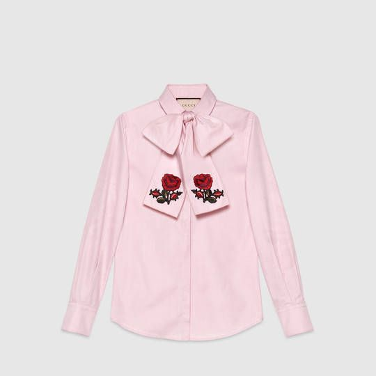 Gucci Embroidered oxford scarf shirt