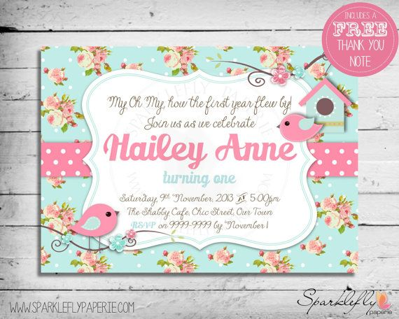 Shabby Chic Little Bird Invitation by SparkleflyPaperie