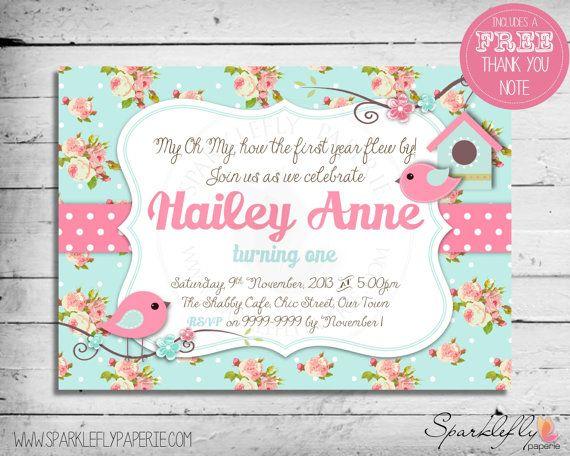 Shabby Chic Little Bird Invitation by SparkleflyPaperie