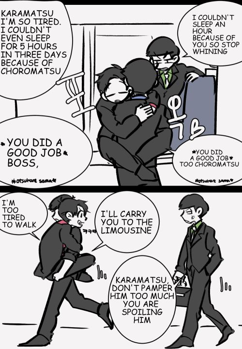 karaoso mafia AUwhen oso has to leave the country because of some kind of meeting, choro will be with him to help him do most of oso's paper works/ watch him not making any messkara would be stay in the company doing all the oso's work until he returns.kara will greet oso when he comes back