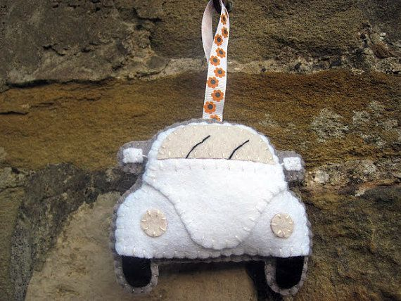 VW Beetle Plush White Hanging Ornament Gift for by GracesFavours