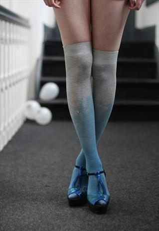 Pretty Disturbia TieDye Blue Punk Grunge festival knee Socks from Pretty Disturbia £5