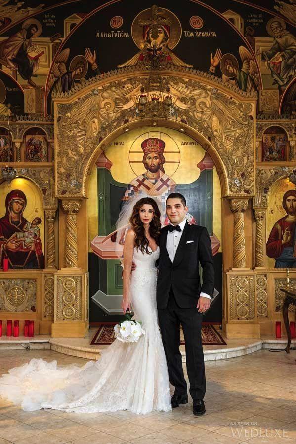 A Traditional Greek Wedding Meets Sleek Sophistication Wedluxe Magazine Greek Wedding Greek Wedding Traditions Greek Wedding Dresses