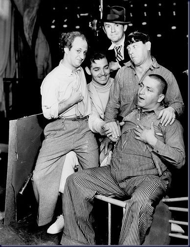 THE KING & 4 JOKERS - Clark Gable with Ted Healy & The Three Stooges - MGM - Publicity Still.