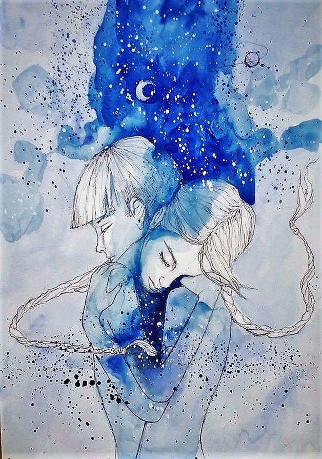 """""""BLIŹNIĘTA"""" praca wykonana akwarelami i piórkiem przez artystkę plastyka Adrianę Laube na papierze A3."""