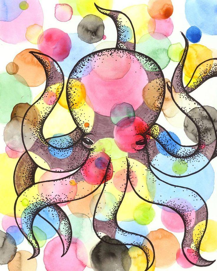 Partypus!! 🎉🐙 #suzywilsonart #octopus #octopusart #watercolor #watercolour #illustration #art #painting #homedecor #wallart #oceanart #colourful #bubbles