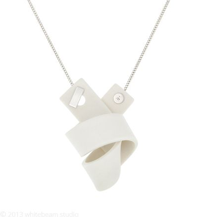 Knot - porcelain / sterling silver - Whitebeam Studio #WhitebeamStudio #jewelry #necklace #Porcelain #Knot