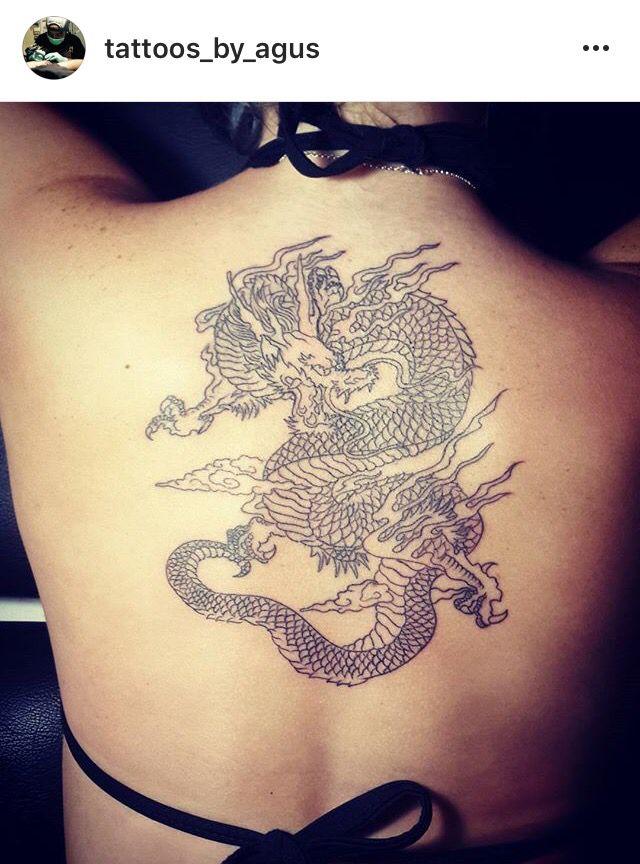 Betsy Johnson's dragon back tattoo