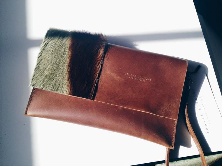 Thalia Strates Allie Clutch Bag in cognac & springbok fur panel, with removable wrist strap