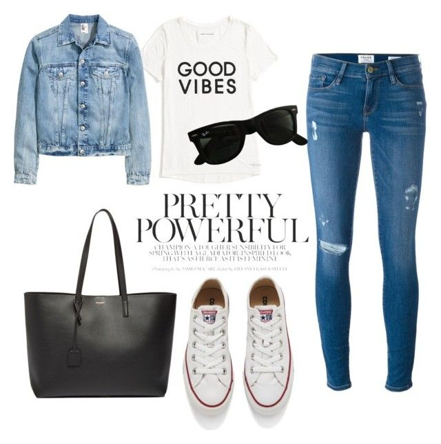 shopping by luziagalvang on Polyvore featuring moda, Tommy Hilfiger, Frame Denim, Converse, Yves Saint Laurent and Ray-Ban