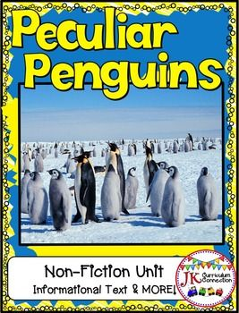 This 108 page penguin packet has a Non-fiction informational book that details LOTS of information about PENGUINS!  Engaging photographs support the text. It is LOADED with interesting facts about penguins! A 22-word Glossary, Vocabulary work, Beginning Readers, Report Writing, Compare and Contrast, Fact and Opinion activities, Math story problems, and graphing activities are provided.