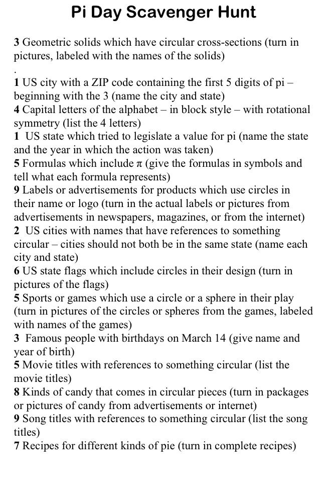 Pi Day Scavenger Hunt ~ a little something to make your students and/or children more geeky like yourself! ;-) Happy Pi day, 3.14 ;-)