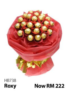 24 pieces of Ferrero Rocher arranged in a special hand bouquet.