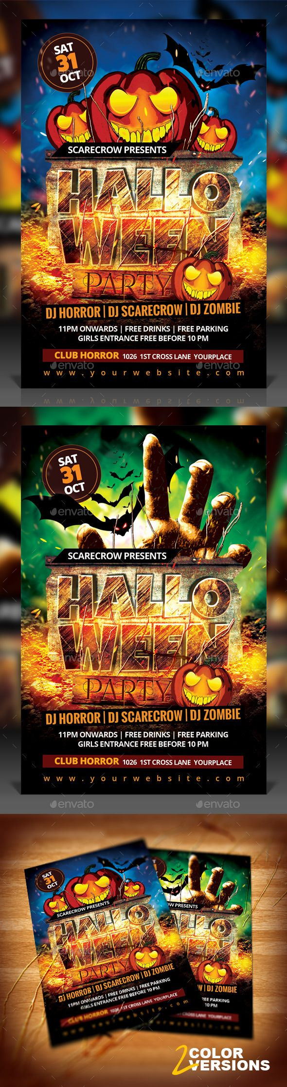 Poster design free download - Halloween Party Flyer