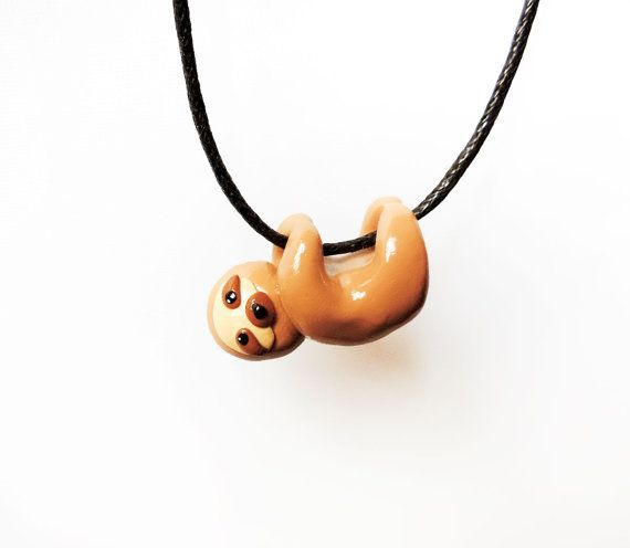 Cute Baby Sloth Necklace Polymer Clay Miniature Animal - @Sarah Chintomby Chintomby Chintomby Chintomby Fuller