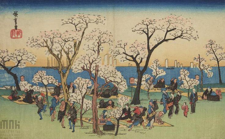 """Ichiryusai Hiroshige (1797-1858), Piknik na łące pod kwitnącymi drzewami, z serii """"Słynne widoki"""" Edo // Picnic under the flowering trees, from series: """"Famous views"""" Muzeum Narodowe w Krakowie // National Museum in Krakow #Japonia #Japan #japanart #lato #piknik #picnic #muzeum #museum #mnk #muzeumnarodowe #nationalmuseum"""