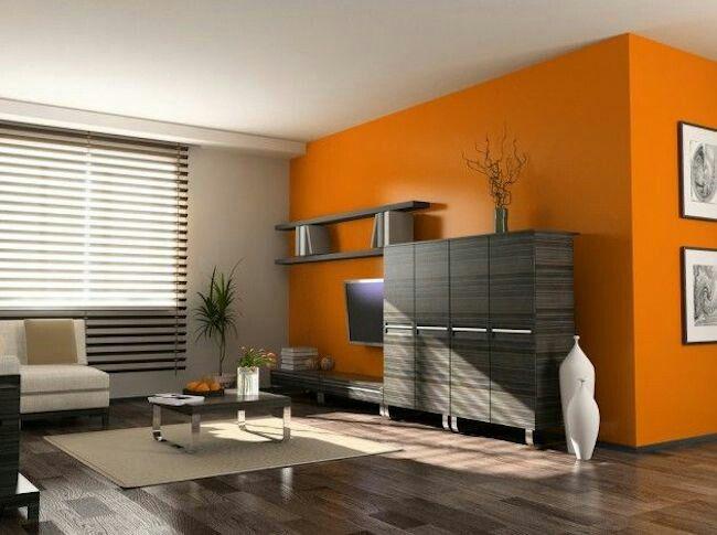 Szaro pomarańczowy salon
