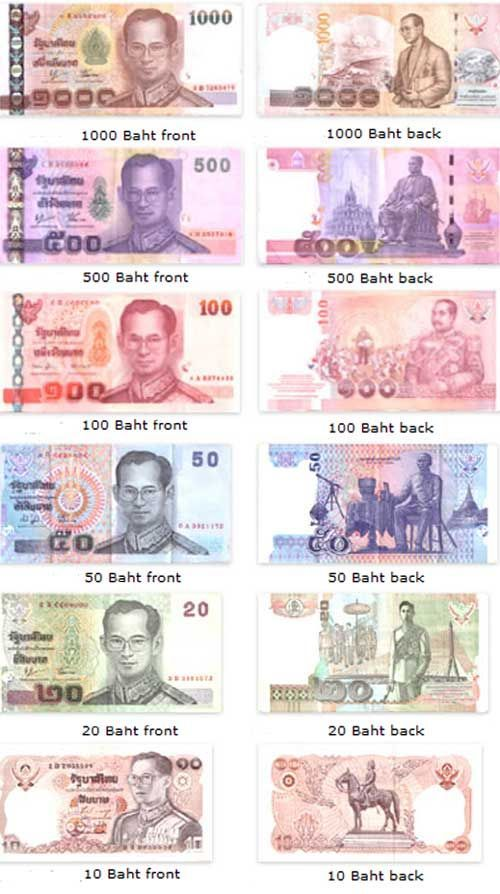 Thailand currency, otherwise known as Thai Baht, is very colorful, and the longer the bill is, the more it's worth.