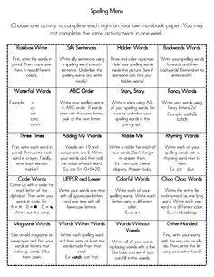 Love this spelling menu! I use it in my 4th/5th grade class and my students love it! :]