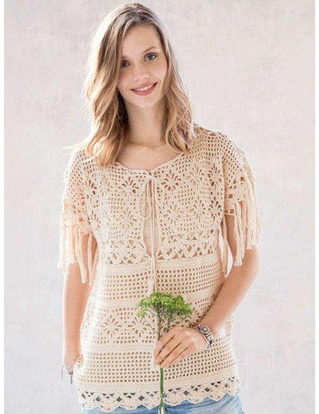 Romantikken blomstrer i denne vidunderlige tunikaen i fransk landstil. Garnpakke i Coton 3 fra Phildar, norsk oppskrift.
