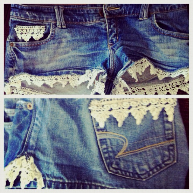 Shorts too short or tight? Add lace!!: Fashion