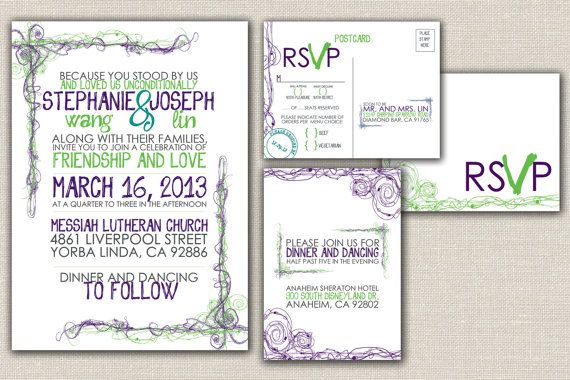 Modern Wedding Invitation and Reply Card Sketchy by WDesignGallery