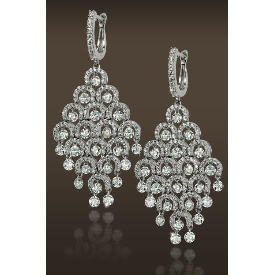 Fine Earrings With Moving Diamonds