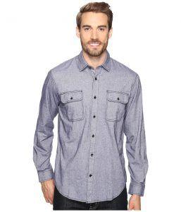 James Campbell Long Sleeve Woven Soder (Blue) Men's Long Sleeve Button Up