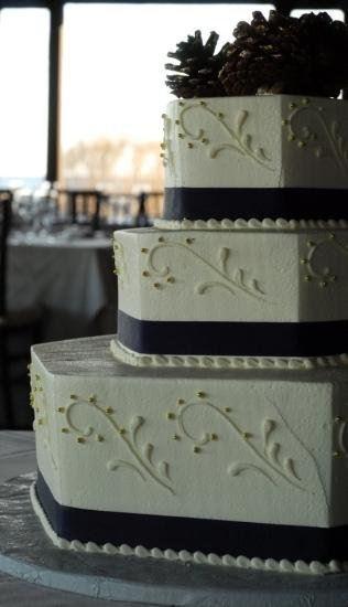"Wedding cake w/ navy blue ""ribbon"""
