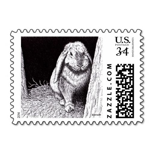shadowy rabbit animal drawing postage stamps
