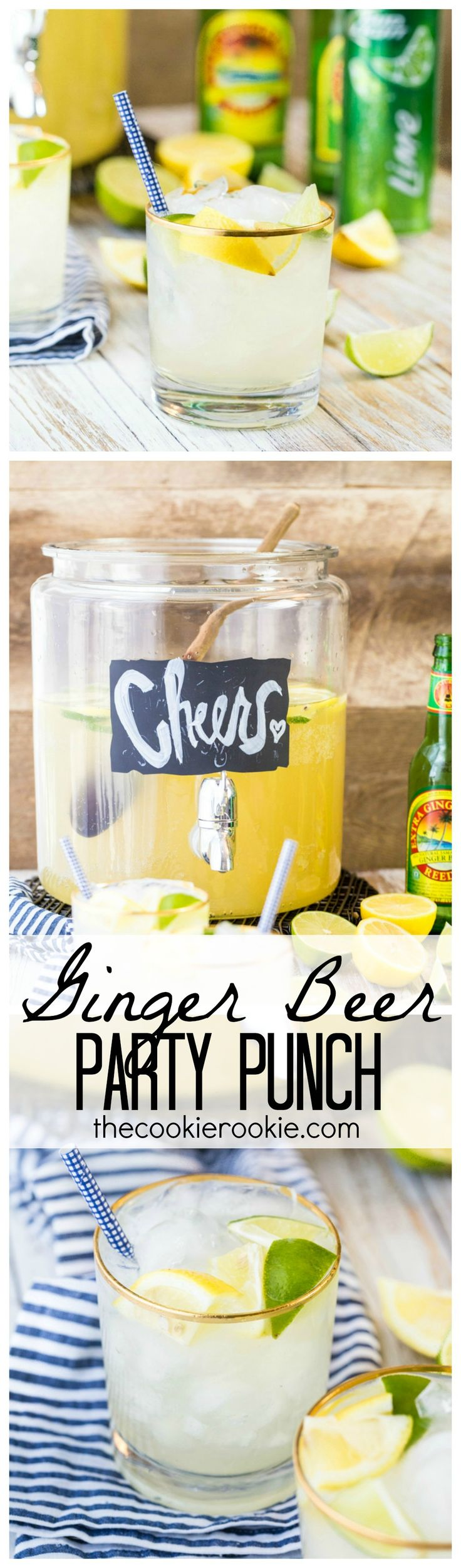 Ginger Beer Party Punch is a MUST for any party! Super easy with only THREE ingredients! Delicious, easy, and great for a crowd!