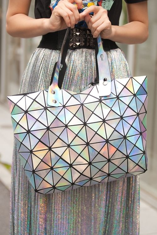 Holographic skirt and bag - love the geometric touch x